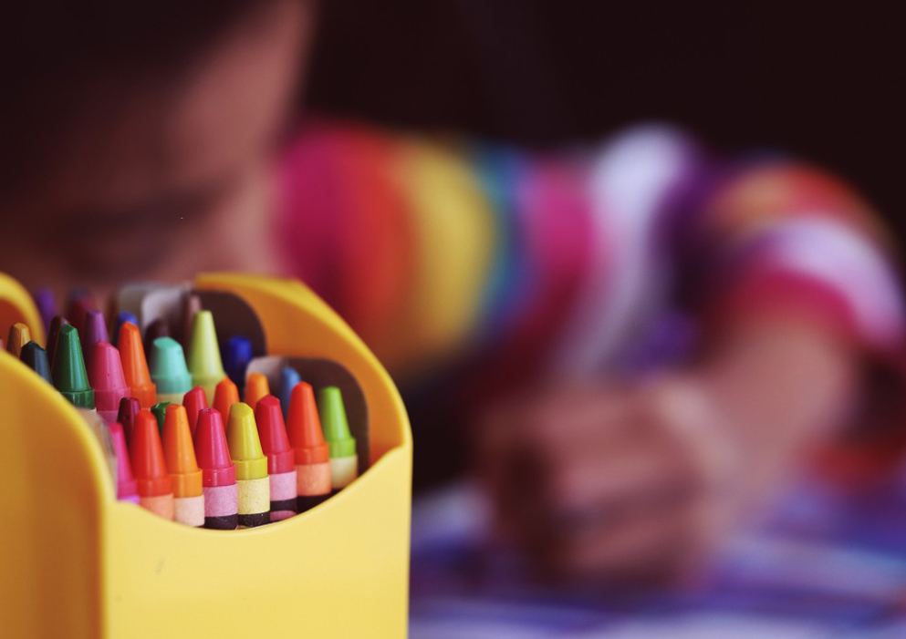 Kids with crayons